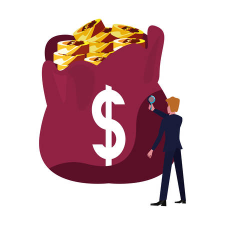 businessman with magnifier money bag vector illustration