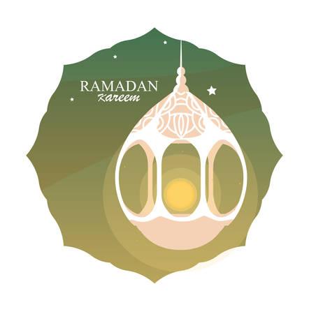 ramadan kareem lamp hanging in frame vector illustration design