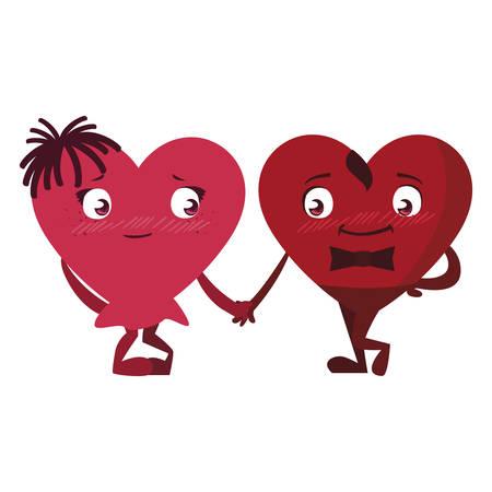 couple hearts kawaii characters vector illustration design