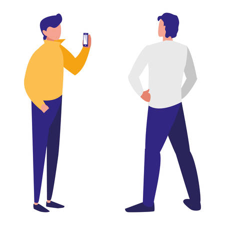couple men using smartphone vector illustration design