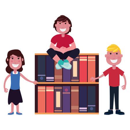 teenegers world bookshelf learning vector illustration design