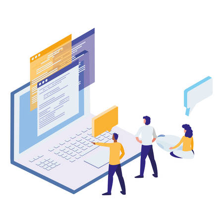 laptop computer with people workers vector illustration design