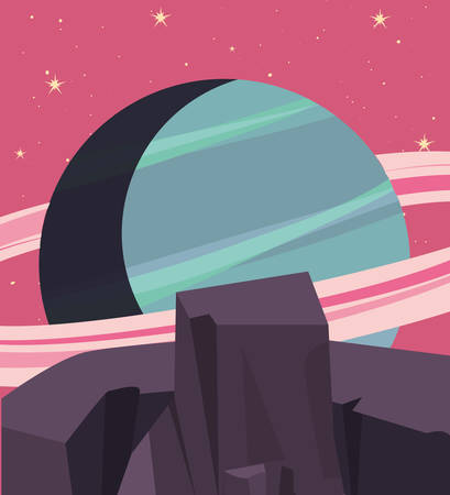 planet space stars galaxy vector illustration design