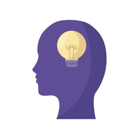 profile silhouette with light bulb idea vector illustration design Ilustrace