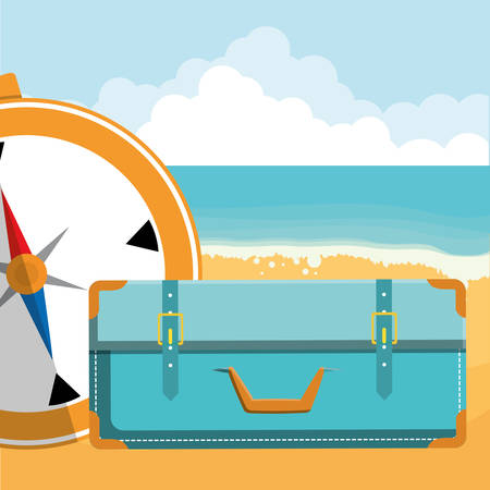 suitcase travel with compass guide vector illustration design