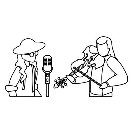 singer and musician couple characters vector illustration design Illustration