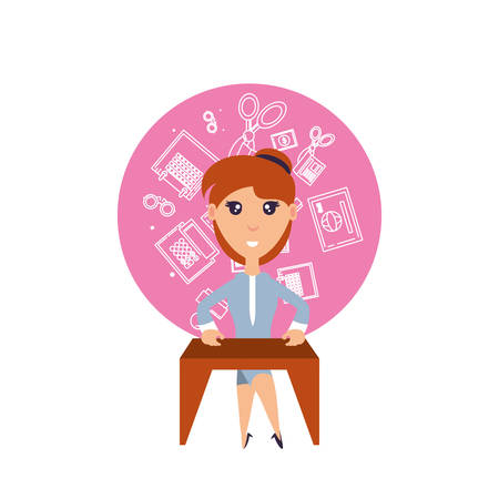 business woman with desk and set icons office vector illustration design