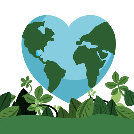 world shaped heart foliage happy earth day vector illustration Vettoriali