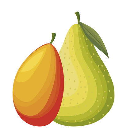 fresh pear with mango fruits isolated icon vector illustration design