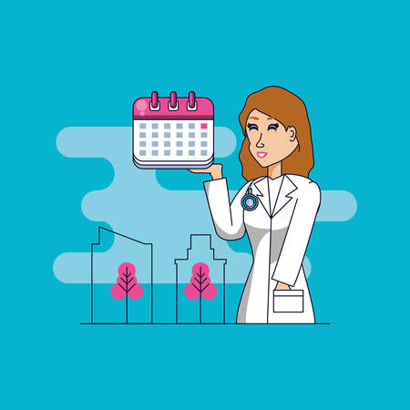doctor professional female with set icons vector illustration design