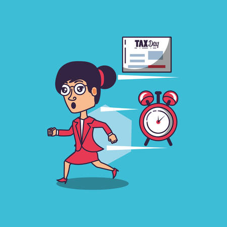 tax day with businesswoman and set icons vector illustration design