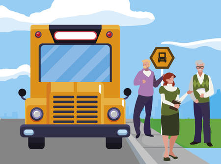 teachers group in the bus stop vector illustration design