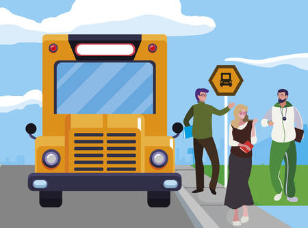 teachers classic and sports in stop bus vector illustration design