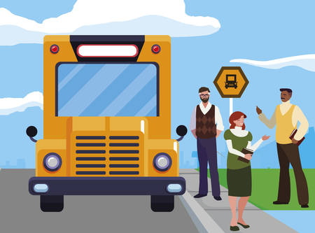 interracial teachers group in bus stop vector illustration design
