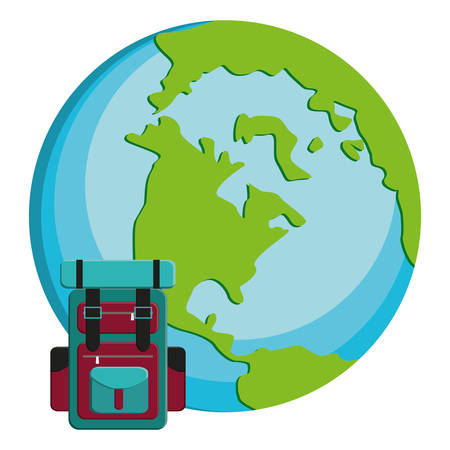 suitcase travel with world planet vector illustration design