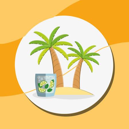 trees palms beach scene with lemonade cocktail vector illustration design