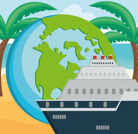 cruise ship travel with world planet vector illustration design Illustration