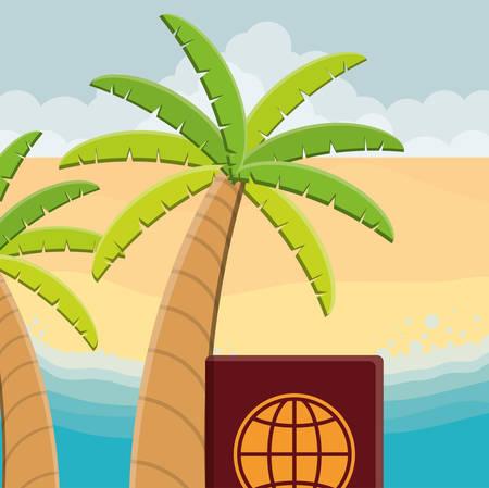 passport international document with trees palms vector illustration design