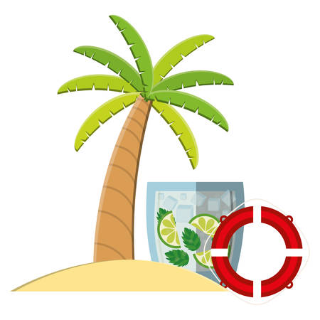 trees palms beach scene with lemonade cocktail and float vector illustration design 矢量图像
