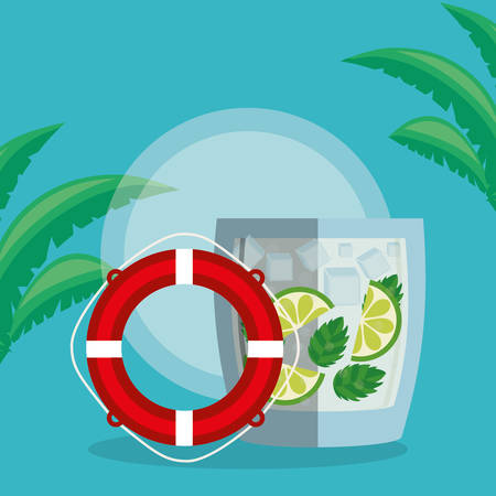 trees palms beach scene with lemonade cocktail and float vector illustration design Illustration