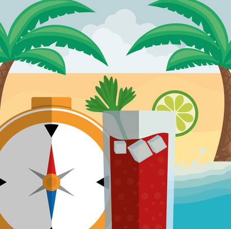 compass travel guide with cocktail vector illustration design  イラスト・ベクター素材