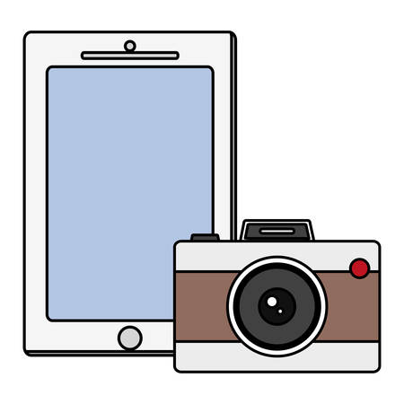 camera photographic with smartphone vector illustration design