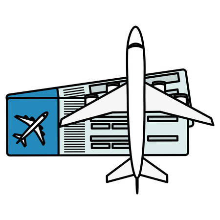 air plane with tickets flight vector illustration design