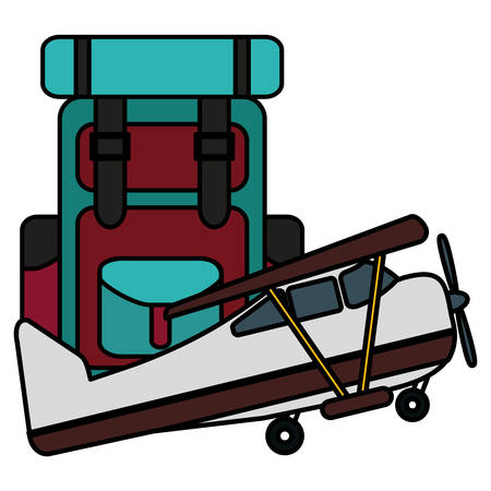 suitcase travel with airplane flying vector illustration design Illustration