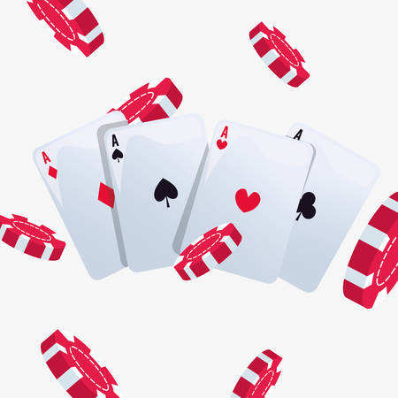 aces poker cards chips background casino game bets vector illustration