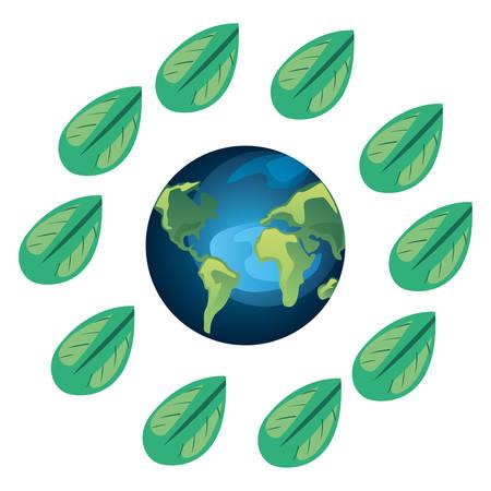 world frame leaves earth day vector illustration Ilustração