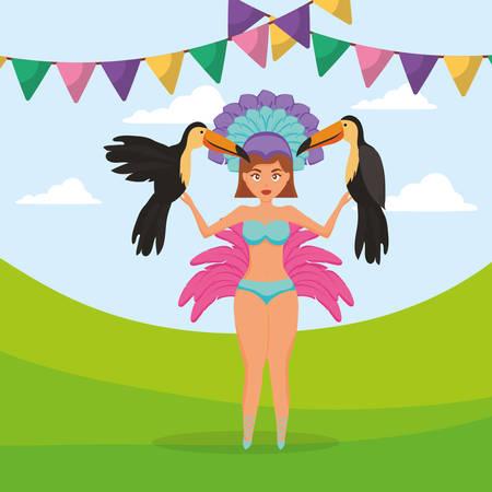 beautiful brazilian girl with toucans vector illustration design