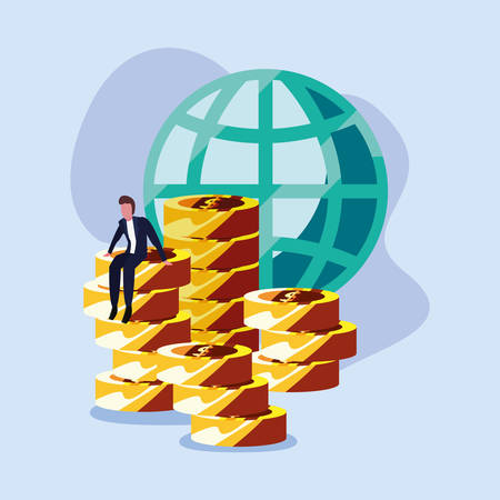 businessman world coins stacked currency money  vector illustration Illustration