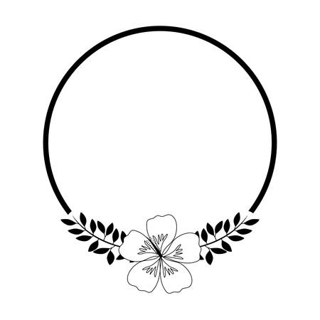 frame with beautiful flower and leafs vector illustration design Illustration