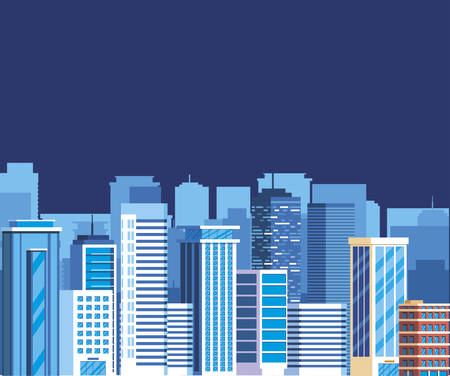 buildings metropolis on the night cityscape scene vector illustration design