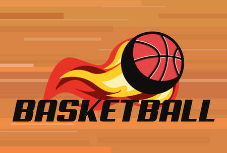 flaming basketball ball sport background vector illustration