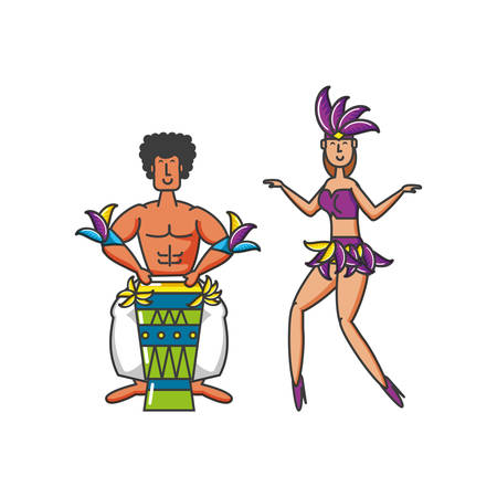 couple brazilian dancer with drum bongo vector illustration design Illustration