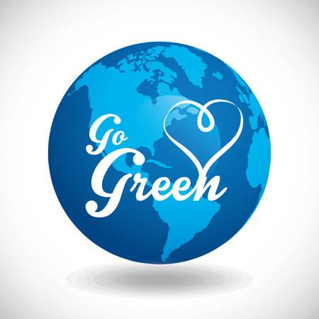 Go green digital design, vector illustration Ilustração