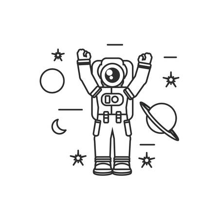 astronaut suit with hands up and set icons vector illustration design Vettoriali