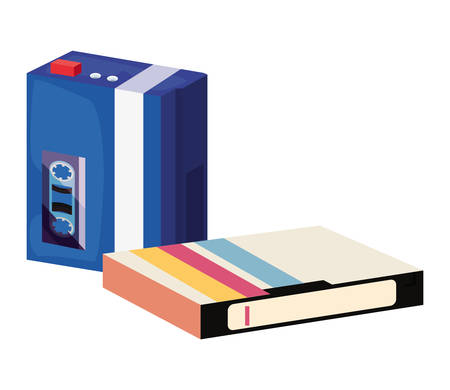 accessories and things retro 80s style cassette music videotape vector illustration 矢量图像