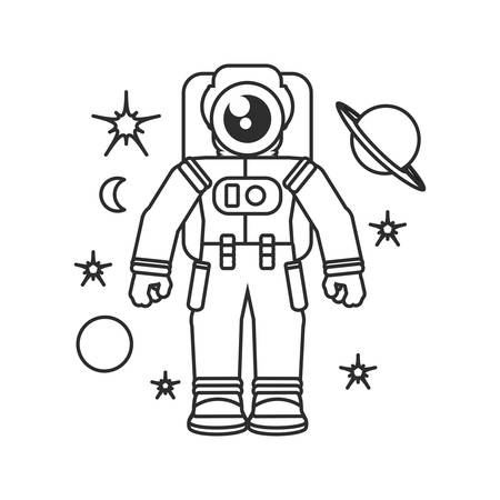 astronaut suit with set icons vector illustration design
