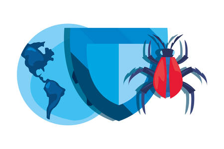 shield world virus cybersecurity data protection vector illustration