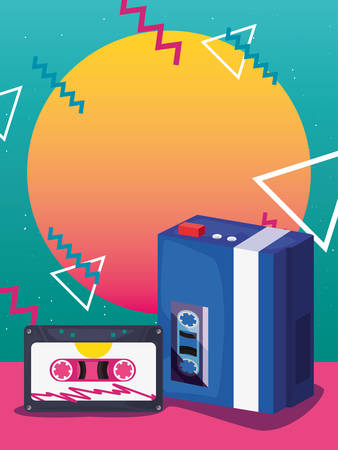 portable music cassette retro 80s style memphis background vector illustration