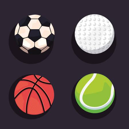 sport balls equipment set soccer basketball tennis golf vector illustration