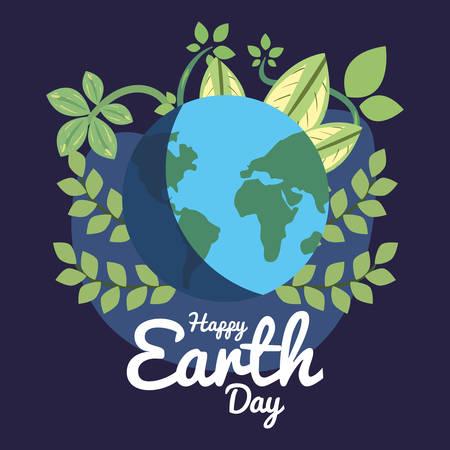 happy earth day world nature foliage vector illustration
