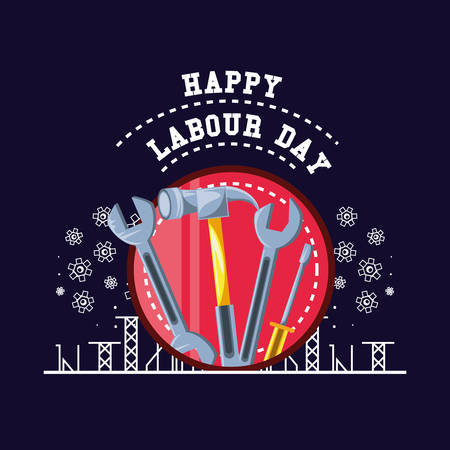 happy labour day with tools and pinions vector illustration design Illustration