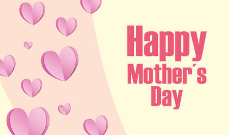 happy mothers day hearts love card vector illustration Illustration