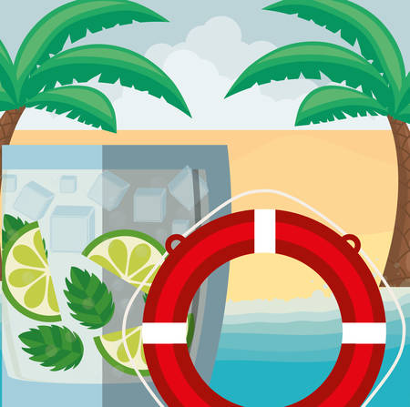 trees palms beach scene with lemonade cocktail and float vector illustration design Çizim