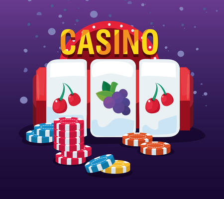 slot machine poker chips bonus fruits casino game bets vector illustration