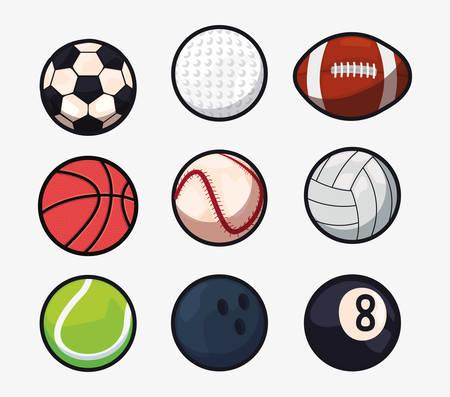 volleyball bowling baseball billiard basketball rugby tennis golf soccer sport balls equipment vector illustration