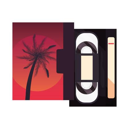 videotape beta box cover retro 80s style white background vector illustration